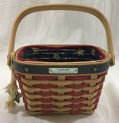 Longaberger 2001 Hostess Appreciation Basket Combo with Liner & Protector