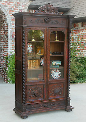 Antique French Oak Barley Twist Gothic Double Door Bookcase Art Music Cabinet