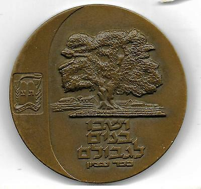IN MEMORY OF THE FIGHTERS FOR ISRAEL'S INDEP. & LIBERTY BRONZE MEDAL COIN 59mm