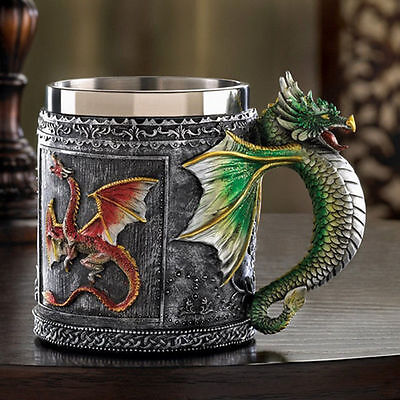 Stainless Steel Royal Dragon Beer Mug Dragon Spine Tankard Novelty Cup Vessel