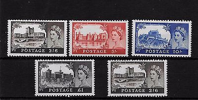 1963 SG595a 598a CASTLES FULL SET OF 5 INC CHALKY SUPERB UNMOUNTED MINT MNH