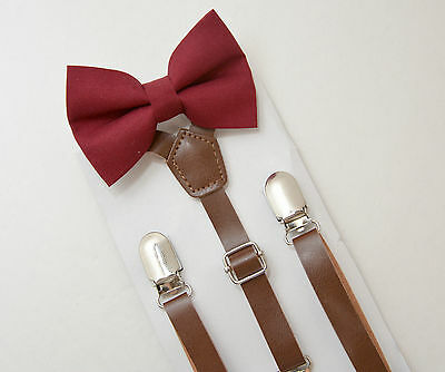 Kids Boys Mens PU Leather Suspenders & Burgundy Red Bow tie SET Infant - ADULT