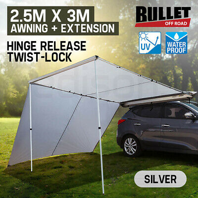 BULLET 4WD Roof Rack Awning & Extension 2.5mx3m Pull-Out 4X4 Car Tent Side Shade