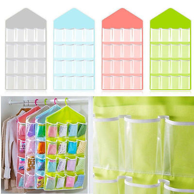 16 Pockets Clear Over Door Hanging Bag Shoe Rack Hanger Storage Organizer Xmas