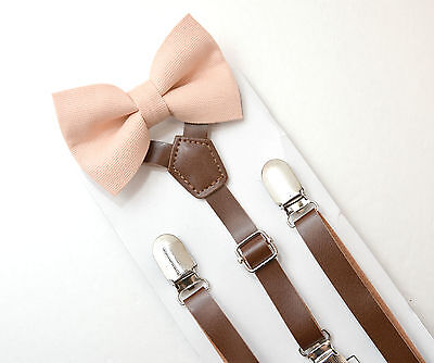 Kids Boys Mens Brown PU Leather Suspenders & Blush Bow tie SET Infant - ADULT