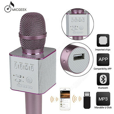 Q9 Microphone Bluetooth Portable KTV USB Player Mic Pink For PC Cellphone Car