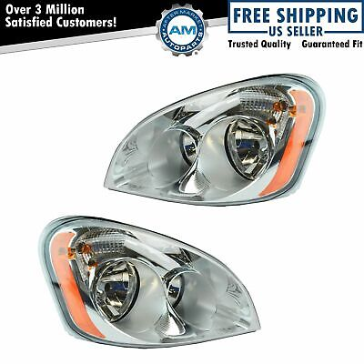 Halogen Headlight Lamp Pair Driver & Passenger Set for Freightliner Cascadia New