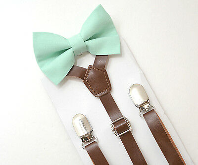 Kids Boys Mens Brown PU Leather Suspenders & Mint Bow tie SET Infant - ADULT