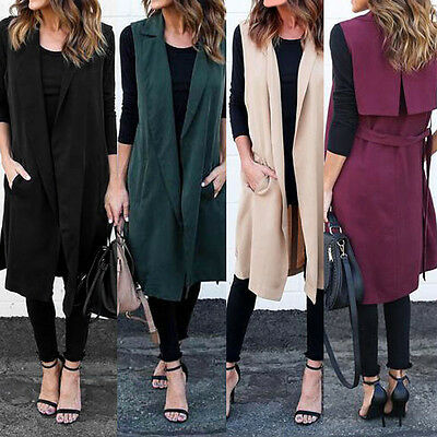 Women Sleeveless Waterfall Cape Long Lapel Cardigan Jacket Coat Waistcoat