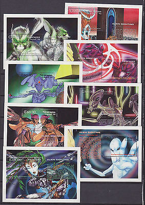 Nicaragua 1994 alieni extraterrestre extraterrestrial aliens Sheets 214/221MNH