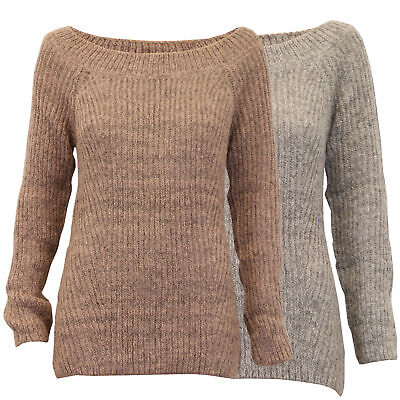 353ce0d8d0d905 ladies boat neck jumper Threadbare womens cable knitted ribbed sweater  winter