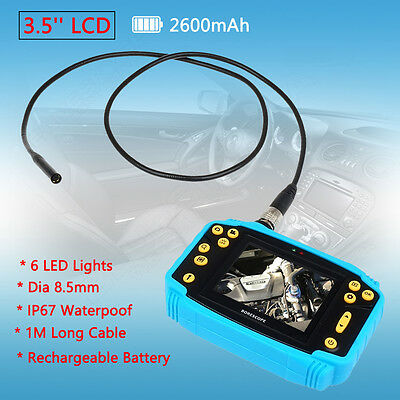 3.5'' LCD Industrial Video Borescope Endoscope Tube Inspection Camera W/ Battery