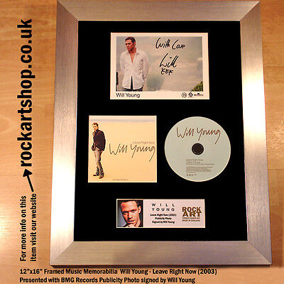 Will Young SIGNED CD Leave Right Now Autographed Framed Memorabilia WORLD SHIP