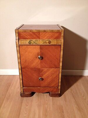 True Antique Early American Art Deco  Nightstand -Veneer Inlay Waterfall