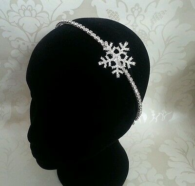 SNOWFLAKE WINTER DIAMANTE SILVER BRIDAL BRIDESMAID SIDE HEADBANDspecial delivery