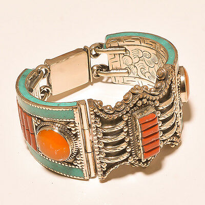 Amazing Turquoise With Red & Yellow Coral .925 Ebay Store Silver Jewelry Cuff
