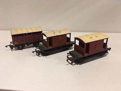 Vintage Tri-ang TT X2 Brake Vans And Cattle Wagon