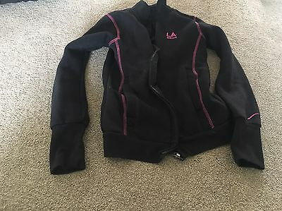 LA Gear Girls Black Tracksuit Top Trimmed With Pink, Age 7-8 Years, Good Conditi