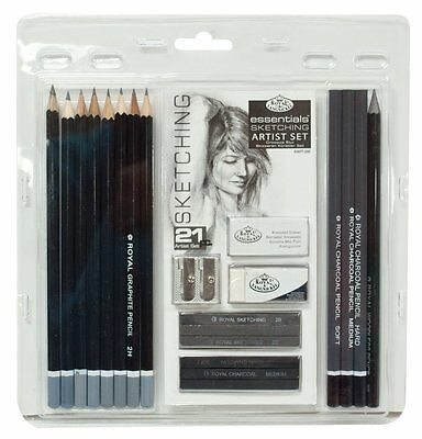 Essentials Sketching Artist Set Pencil Graphite Charcoal Eraser Sharpener Draw