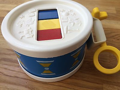 Fisher Price 1970's Vintage Toy. Drum & Xylophone Music Set. 1976 Blue & White