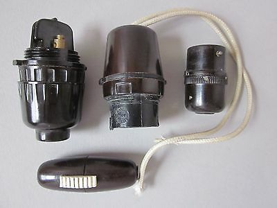X4 Vintage Bakelite Light Fittings & Switch ~ Pendant Bayonet Cable Spares Parts
