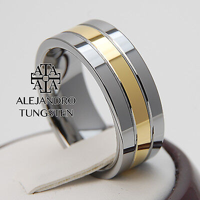 Tungsten Ring Comfort Fit Wedding Band 8MM Silver Gold Inlay Size 12 #FVA