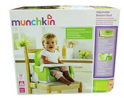 Munchkin Adjustable Booster Feeding Baby Seat Toddler Highchair Harness Age 1+