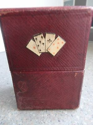 Antique Moroccan Red Leather Dual Playing Card Box with Motif