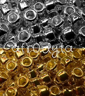 100 Metallic Silver or Gold Chrome Pony Beads 9x6mm Barrel Shape BUY 3 FOR 2