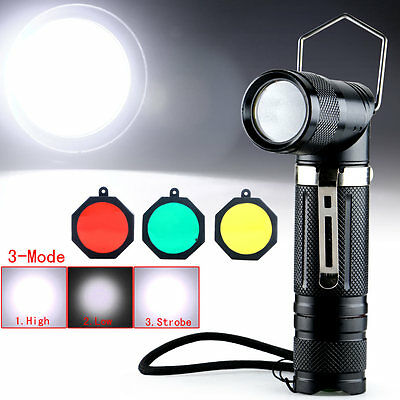 Adjustable Angle CREE XM-L T6 LED 2000Lm Flashlight Torch 3Modes +Filter