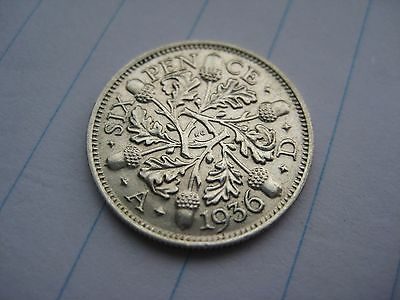Sixpence George V 5th 1936 Excellent British Coin