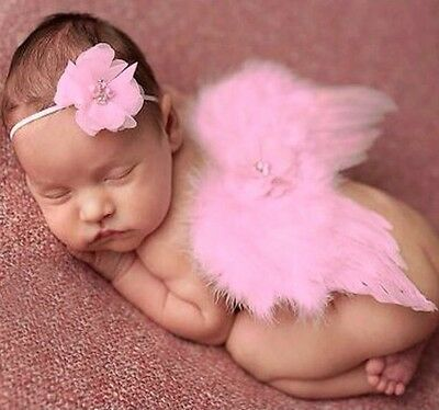 Girls Boys Newborn Baby Pink Angel Wings Headband Photo Photography Prop