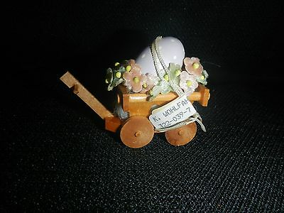 Made in Germany Wood Ornament Laura Andersen Cart with Egg