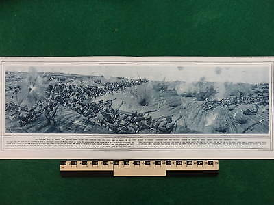 1914 Battle Of Mons Spectacular Battle Panorama Wwi Ww1 (Double Page)