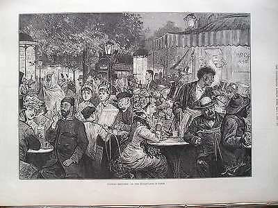 1879 Boulevards In Paris Print Illustrated London News