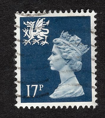 Wales SG W45 17p Deep Blue Centre Phosphor Band Type II FINE USED R19937