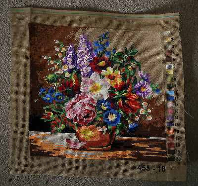 Pretty Shabby Chic Cottage Floral Bouquet Completed Tapestry Piece
