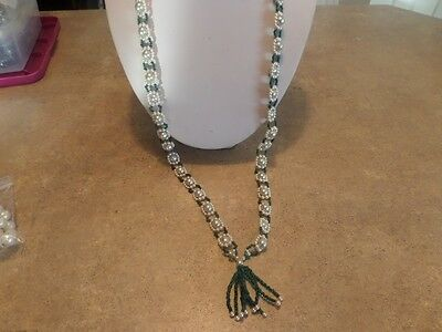 Vintage Green Glass and Faux Pearl Tassel Necklace