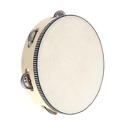 "8"" Hand Held Tambourine Drum Bell Percussion Musical Toy for Kids Games L5P2"
