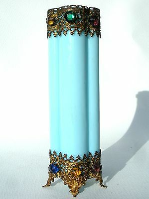 Art Nouveau French Opaline Blue Milk Glass Cruciform Vase Jewelled Ormolu Mounts