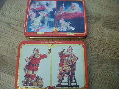 3 Decks Coca-Cola Playing Cards Santa in 2 Collectible Tins 2 Decks Complete