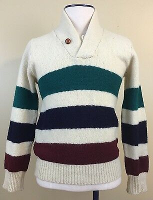 """The Ivy League"" Mens True Vintage Wool Shawl Collar Collegiate Sweater. Large."