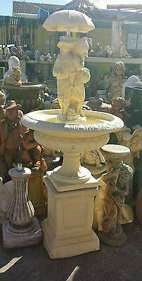 Concrete Girl And Boy Holding Umbrella Water Feature fountain including pump
