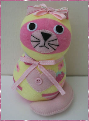 Sock Cat. Cat soft toy/Sock toy Yellow/Pink, strawberry design
