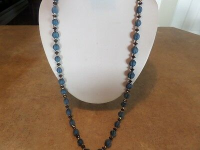 Long Vintage Gold Tone and Blue Necklace