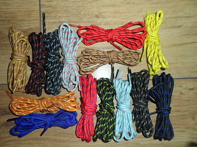 4mm ROUND STRONG BOOT LACES  TWO TONE 14 COLOURS  AND 6 SIZES