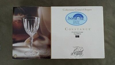 Clear Water Goblets 24% Lead Crystal (4) 8 oz Cristal d'Arques Constance France