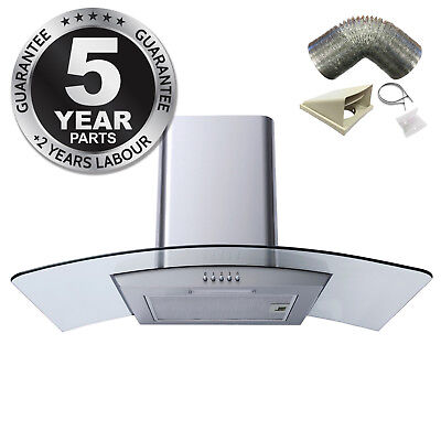 SIA CPL91SS 90cm Curved Glass Stainless Steel Chimney Cooker Hood + 1m Ducting