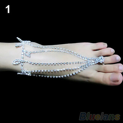 Hot Fashion Diamante Barefoot Sandals Beach Foot Jewelry Anklet Ankle Chain 1UK