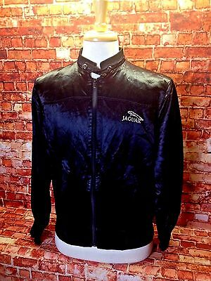 Vintage Men's JAGUAR Black Satin RACING Jacket Size Small Made In USA Mac Murray